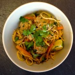 Thai style pork meatballs with noodles in a fragrant broth